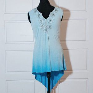 ONE WORLD Blue ombre embroidered bohemian top